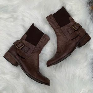 Sam Edelman Karol Brown Leather Buckle Boots